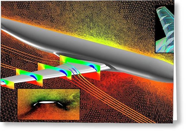 Heavy-lift Transport Aircraft Simulation Greeting Card by Nasa/langley (elizabeth Lee-rausch, Michael Park)