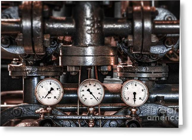 Steam-punk Greeting Cards - Heavy Machinery Greeting Card by Carlos Caetano