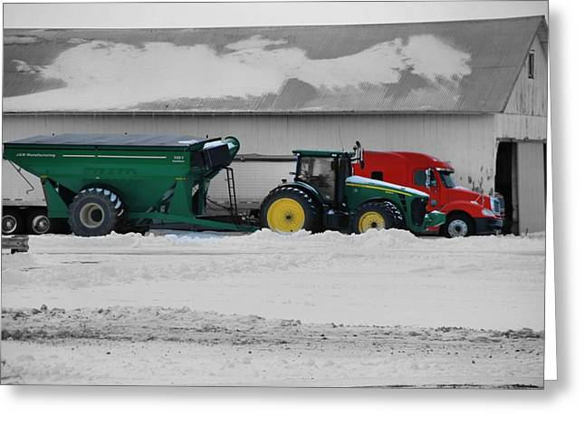 Snowstorm Greeting Cards - Heavy Machinery On The Farm In Winter Greeting Card by Dan Sproul