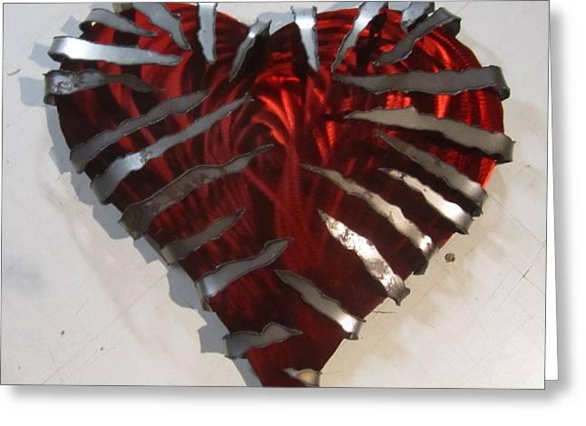 Valentine Sculptures Greeting Cards - Heavy Metal Heart sculpture Greeting Card by Robert Blackwell