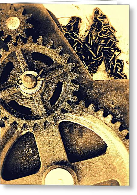 Gear Pyrography Greeting Cards - Heavy Metal Greeting Card by Victoria Maxon