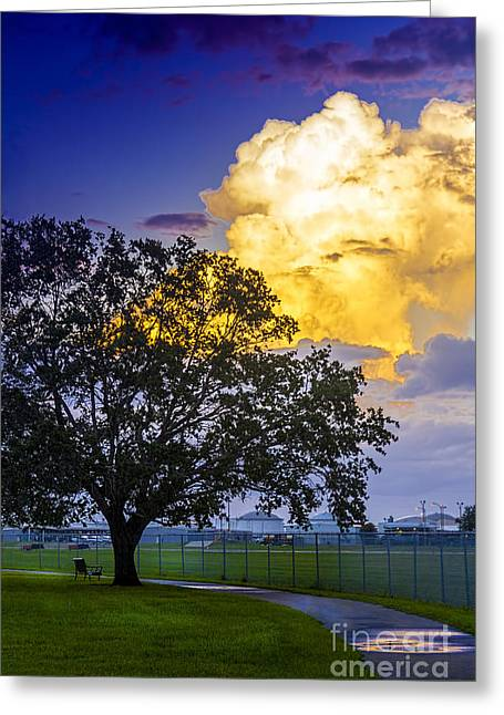 Park Benches Photographs Greeting Cards - Heavy Sky Greeting Card by Marvin Spates