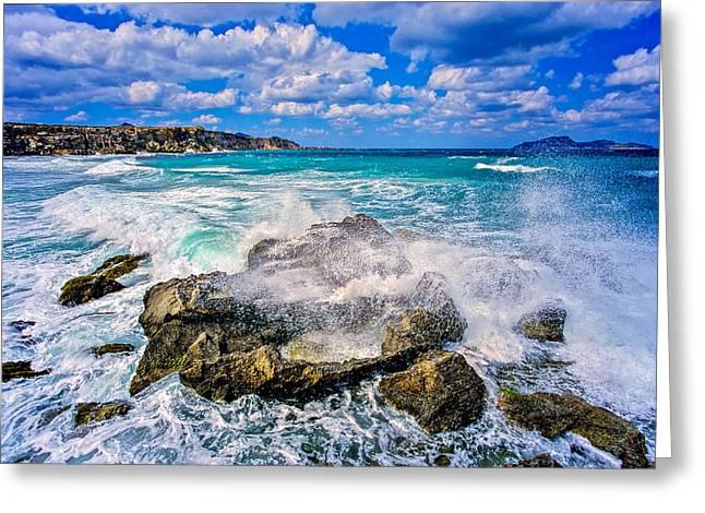 Inseln Greeting Cards - Heavy surf on Favignana island - Sicily  Greeting Card by Martin Liebermann