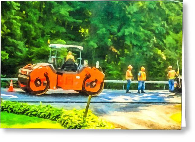 Recently Sold -  - Layer Greeting Cards - Heavy Tandem Vibration Roller Compactor At Asphalt Pavement Works For Road Repairing 2 Greeting Card by Lanjee Chee