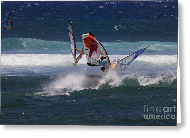Windsurfer Greeting Cards - Heavy Traffic Greeting Card by Mike  Dawson