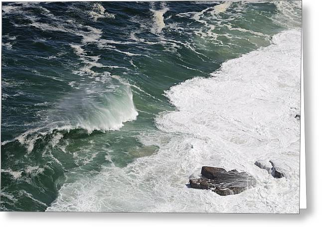 Sami Sarkis Greeting Cards - Heavy waves and rocks in ocean Greeting Card by Sami Sarkis