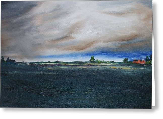 Storm. Rain. Oil On Canvas Greeting Cards - Heavy with rain Greeting Card by Conor Murphy