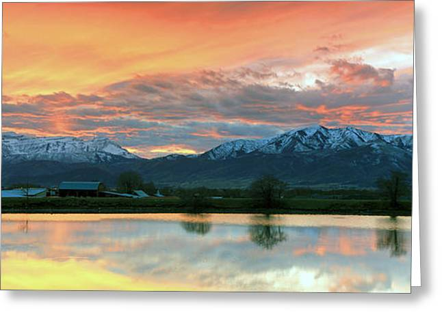 Snowy Evening Greeting Cards - Heber Valley Sunset Greeting Card by Johnny Adolphson