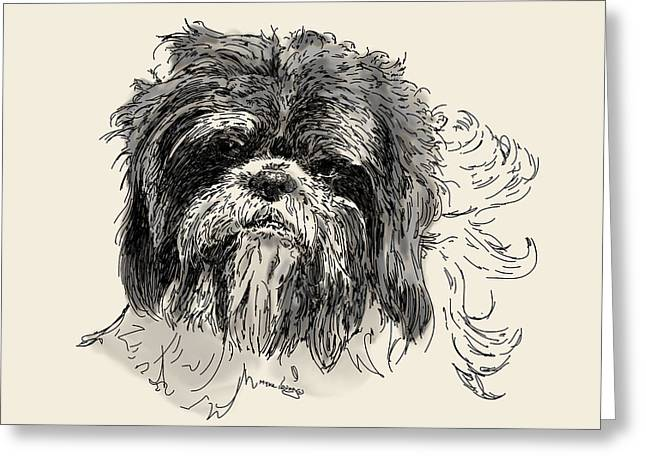 Puppies Drawings Greeting Cards - Hec-a-tor Greeting Card by Myke  Irving