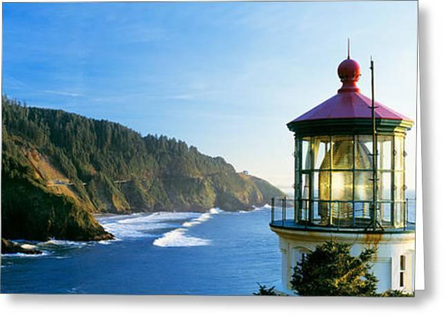 Oregon Lighthouse Image Greeting Cards - Heceta Head Lighthouse, Florence Greeting Card by Panoramic Images
