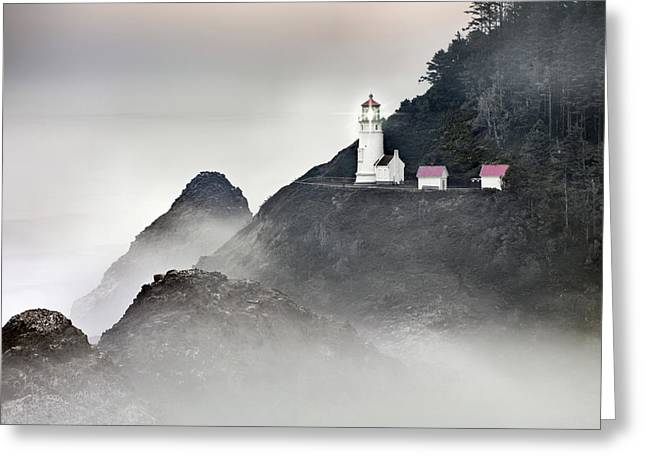 Best Sellers -  - Best Ocean Photography Greeting Cards - Heceta Head Lighthouse Greeting Card by Leland D Howard
