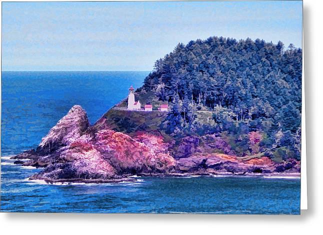 Heceta Greeting Cards - Heceta Head Lighthouse Oregon Coast Greeting Card by Tracie Kaska
