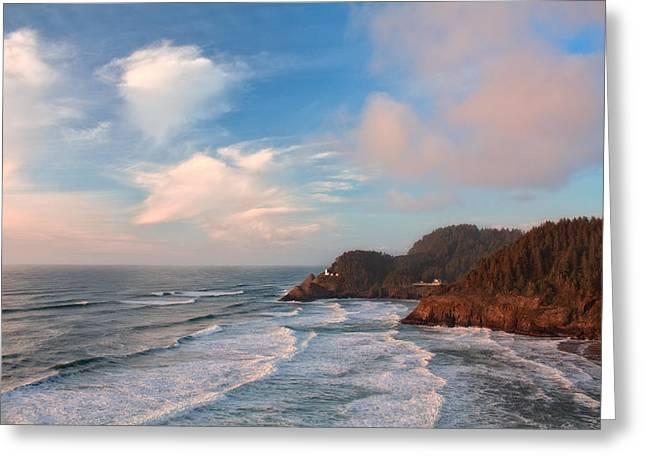 Oregon Lighthouse Image Greeting Cards - Heceta Head Lighthouse Greeting Card by Patricia  Davidson