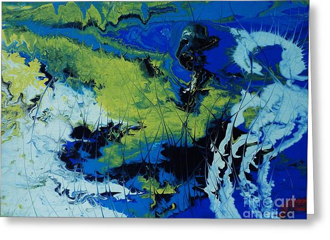 Acrylic Pour Greeting Cards - Hectic Reflections Greeting Card by Arlene Sundby
