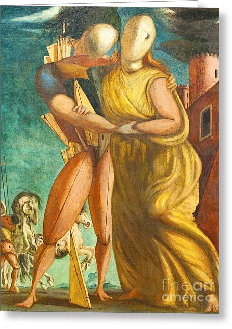 Chirico Greeting Cards - Hector and Andromache by Giorgio de Chirico Greeting Card by Roberto Morgenthaler