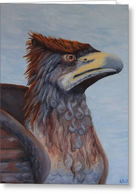 Statue Portrait Paintings Greeting Cards - Griffon Greeting Card by Kathryn Bell