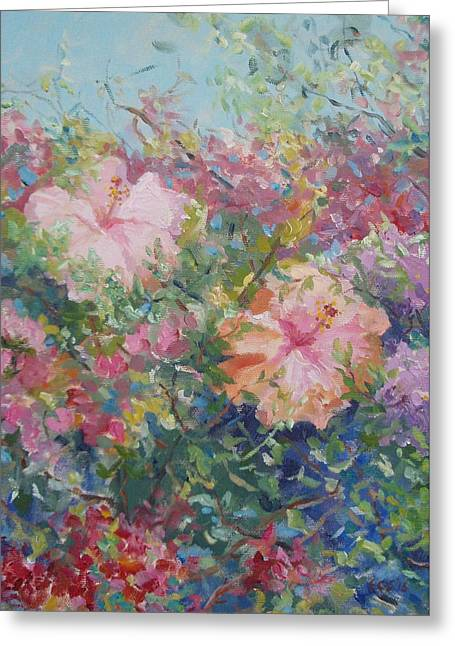 Orangey Greeting Cards - Hedge of Bougainvillea and Hibiscus Greeting Card by Elinor Fletcher