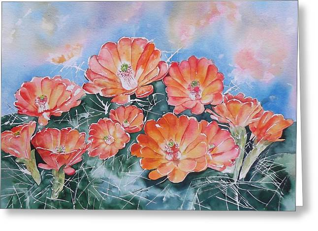 Prescott Greeting Cards - Hedgehog Cactus Flower Prescott Arizona Greeting Card by Sharon Mick