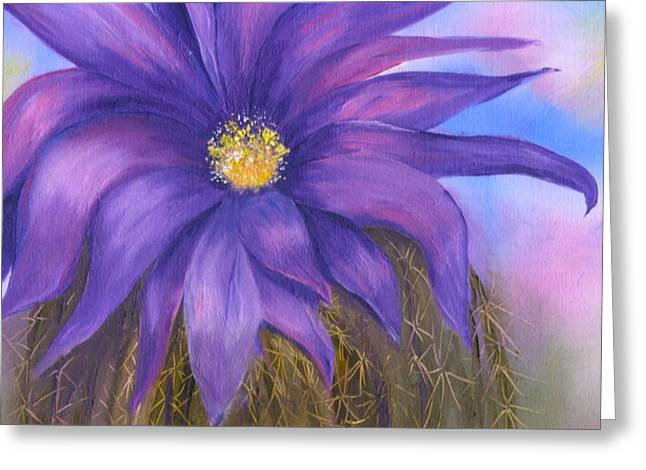 Water Color Greeting Cards - Hedgehog Cactus Flower  Greeting Card by Sharon Mick