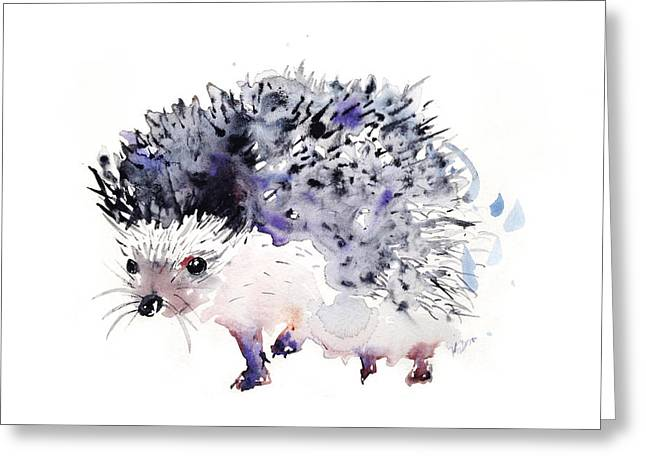 Simple Paintings Greeting Cards - Hedgehog Greeting Card by Kristina Broza