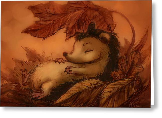 Katerina Romanova Greeting Cards - Hedgehog Under Leaves Greeting Card by Katerina Romanova