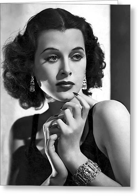 Academy Awards Oscars Greeting Cards - HEDY LAMARR - BEAUTY and BRAINS Greeting Card by Daniel Hagerman