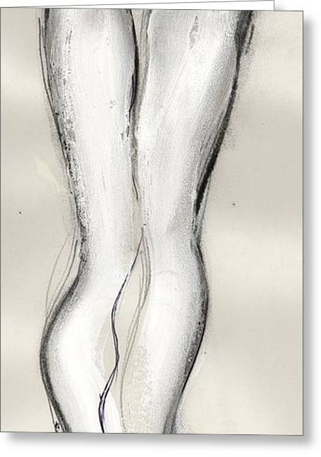Straps Greeting Cards - Heels - nude female Greeting Card by Carolyn Weltman