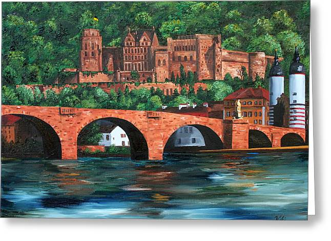 Knights Castle Paintings Greeting Cards - Heidelberg Castle Greeting Card by Cevin Cox