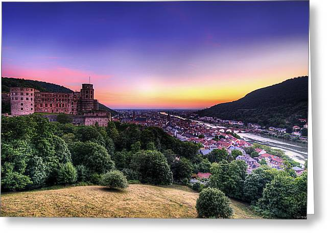 Warm Summer Greeting Cards - Heidelberg Dusk Greeting Card by Ryan Wyckoff