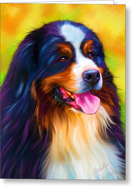 Michelle Wrighton Greeting Cards - Colorful Bernese Mountain Dog Painting Greeting Card by Michelle Wrighton