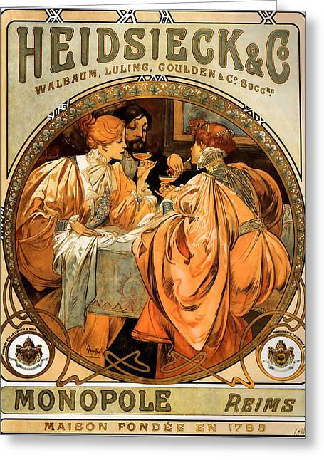 Heidsieck Greeting Cards - Heidsieck Champagne Poster Advert Greeting Card by Alphonse Mucha