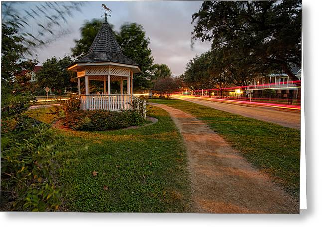 Jogging Greeting Cards - Heights Boulevard Gazebo Greeting Card by Silvio Ligutti