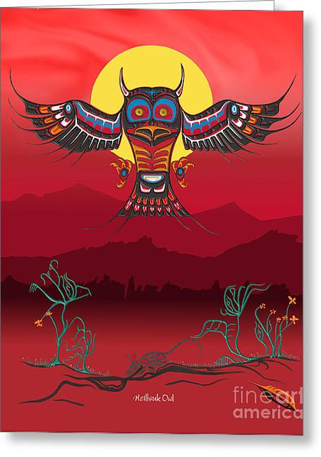 Cha-am Greeting Cards - Heiltsuk Owl Living Not Surviving Greeting Card by Fred Anderson jr