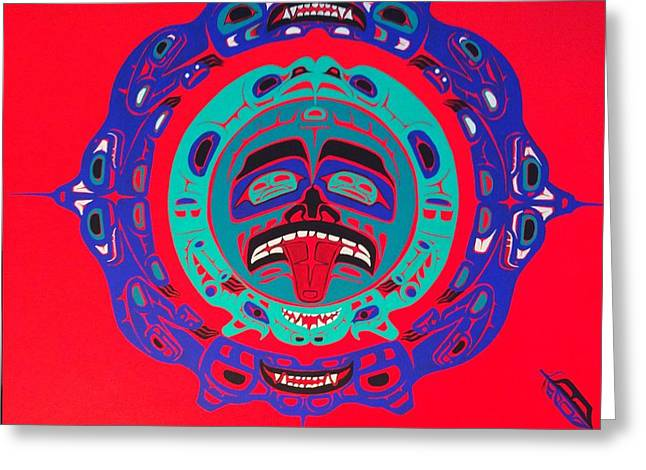 Balance In Life Paintings Greeting Cards - Heiltsuk Sun Four Bears Greeting Card by Fred Anderson jr