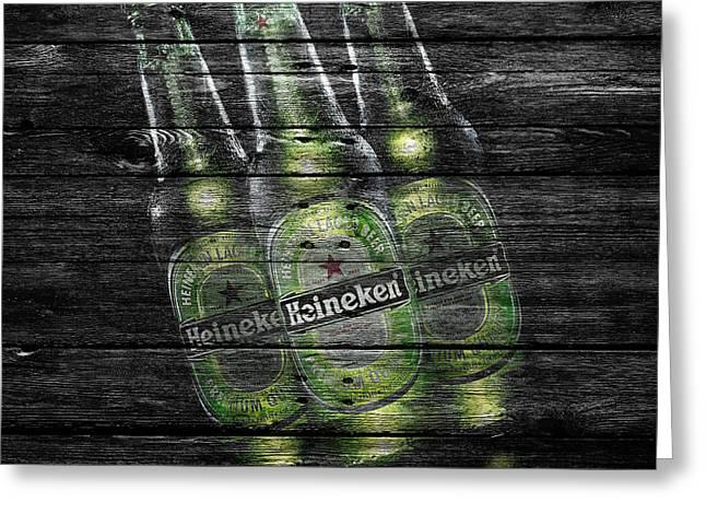 Saloons Greeting Cards - Heineken Bottles Greeting Card by Joe Hamilton
