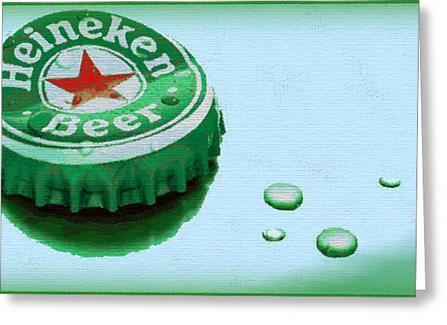 Heineken Cap Blue Greeting Card by Tony Rubino