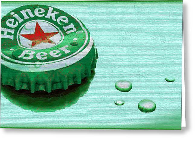 Europe Mixed Media Greeting Cards - Heineken Cap Green Greeting Card by Tony Rubino