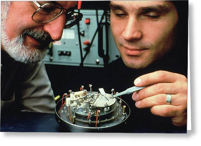 Heinrich Rohrer And Gerd Binnig Greeting Card by Ibm Research