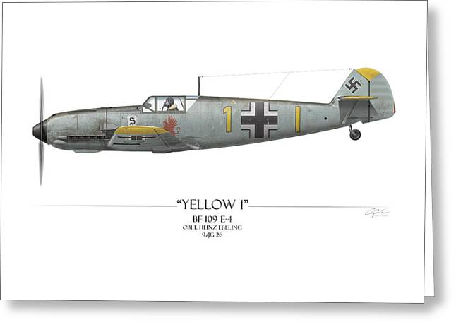 Heinz Ebeling Messerschmitt Bf-109 - White Background Greeting Card by Craig Tinder