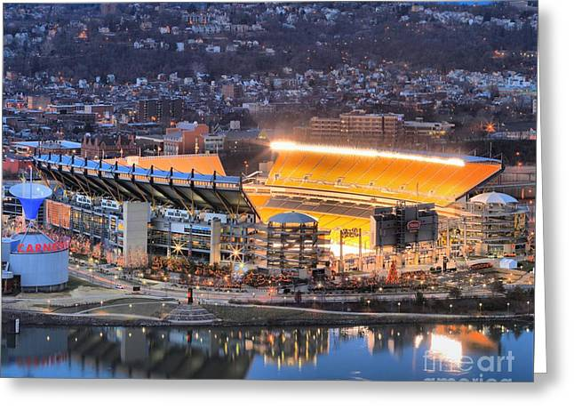 Reflections In River Greeting Cards - Heinz Field At Night Greeting Card by Adam Jewell