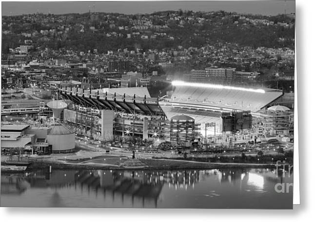 Downtown Pittsburgh Greeting Cards - Heinz Field Evening Black And White Panorama Greeting Card by Adam Jewell