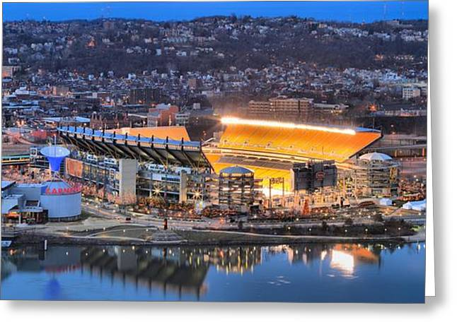 Reflections In River Greeting Cards - Heinz Field Evening Reflections Greeting Card by Adam Jewell