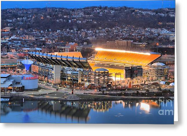Reflections In River Greeting Cards - Heinz Field Reflections In The Ohio Greeting Card by Adam Jewell