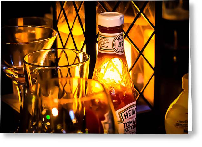 Heinz Ketchup Greeting Cards - Heinz Table Scene Greeting Card by Joseph Bowman