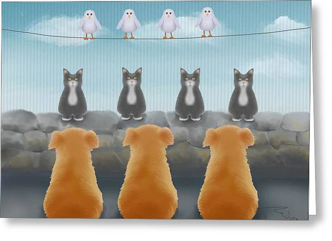 Dog Prints Greeting Cards - Heirarchy Greeting Card by Marlene Watson