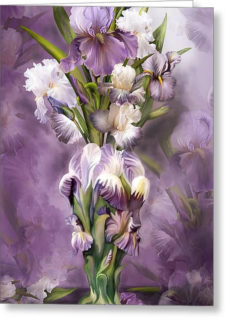 White Beard Greeting Cards - Heirloom Iris In Iris Vase Greeting Card by Carol Cavalaris