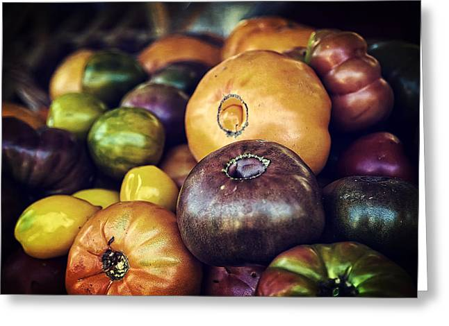 Farmers Field Greeting Cards - Heirloom Tomatoes at the Farmers Market Greeting Card by Scott Norris