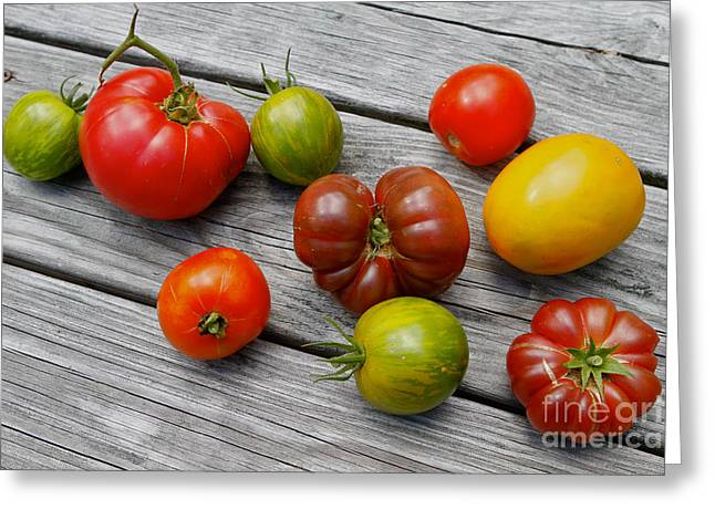Local Food Greeting Cards - Heirloom Tomatoes Greeting Card by Carol Sullivan