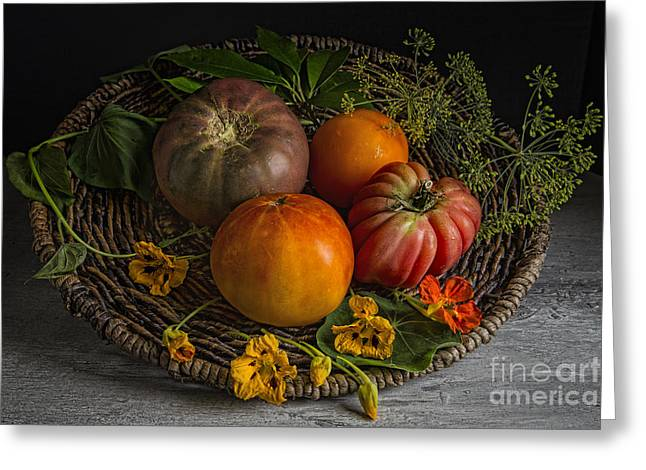 Tabletop Greeting Cards - Heirloom tomatoes Greeting Card by Elena Nosyreva