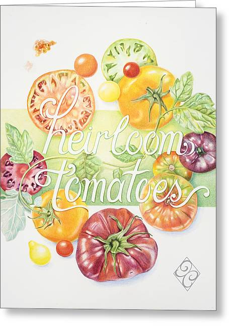 Tomato Drawings Greeting Cards - Heirloom Tomatoes Greeting Card by Joan Chamberlain